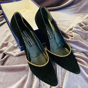 Stuart Weitzman Black Velvet Crystal Studded Heels